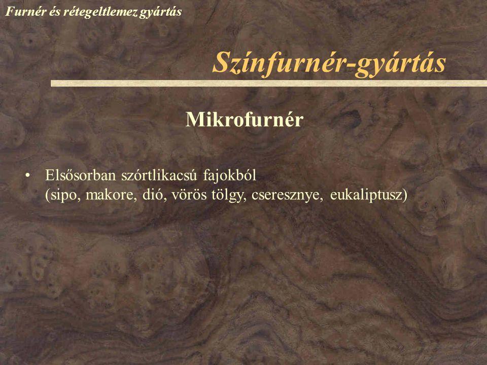 Színfurnér-gyártás Furnér és rétegeltlemez gyártás Elsősorban szórtlikacsú fajokból (sipo, makore, dió, vörös tölgy, cseresznye, eukaliptusz) Mikrofur