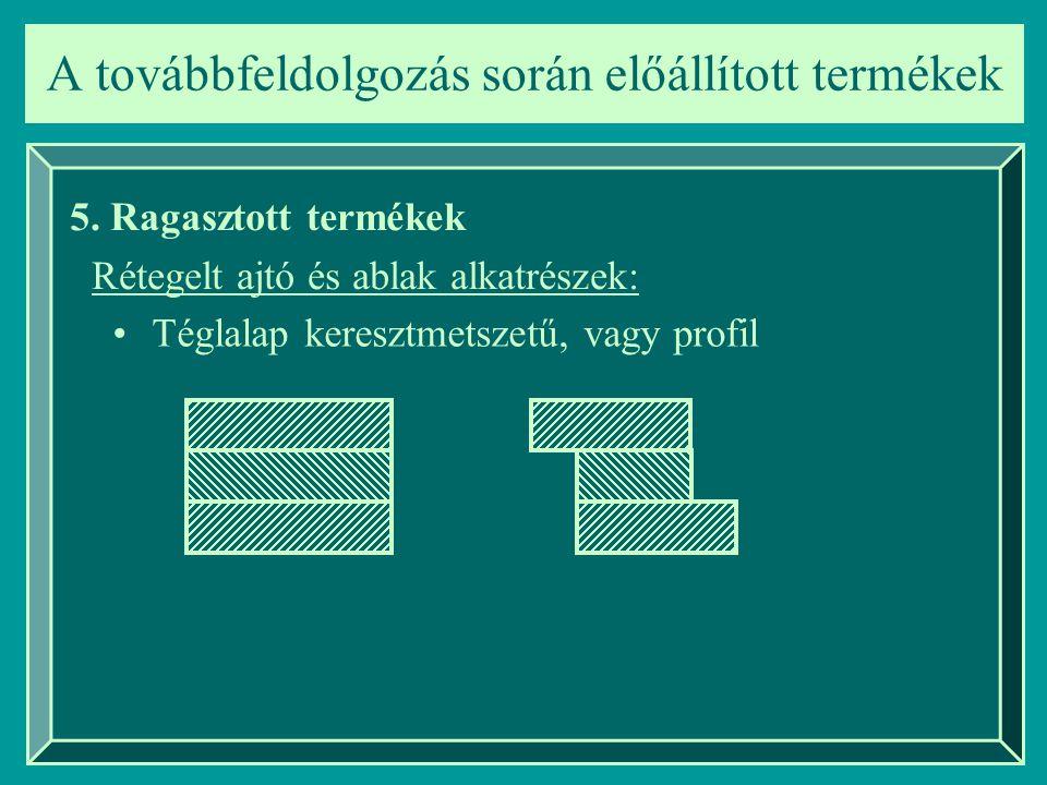 A továbbfeldolgozás során előállított termékek 5. Ragasztott termékek Rétegelt ajtó és ablak alkatrészek: Téglalap keresztmetszetű, vagy profil