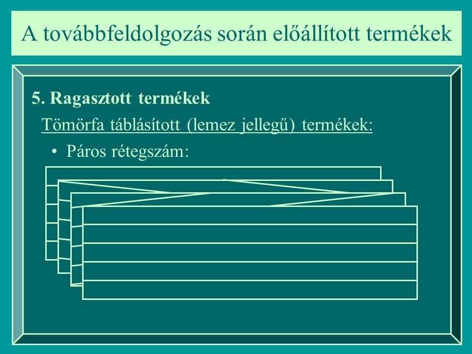 A továbbfeldolgozás során előállított termékek 5. Ragasztott termékek Tömörfa táblásított (lemez jellegű) termékek: Páros rétegszám: