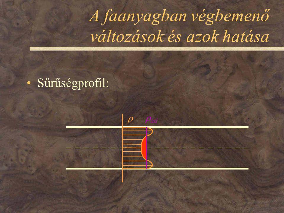 A faanyagban végbemenő változások és azok hatása Sűrűségprofil:   átl