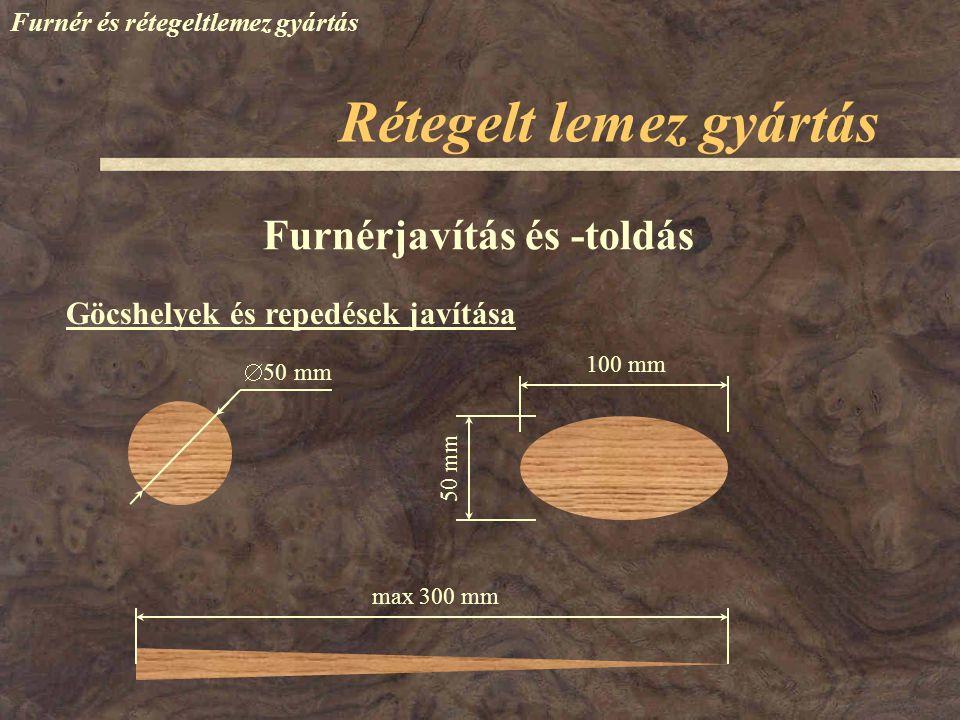 Furnér és rétegeltlemez gyártás Terítékképzés Rétegelt lemez gyártás Főbb szempontok: Szimmetria elv Páronként megegyező –furnérvastagság –fafaj –nedvességtartalom –irányítás