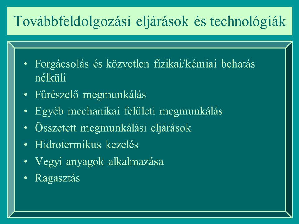 Forgácsolás és közvetlen fizikai/kémiai behatás nélküli Fűrészelő megmunkálás Egyéb mechanikai felületi megmunkálás Összetett megmunkálási eljárások H