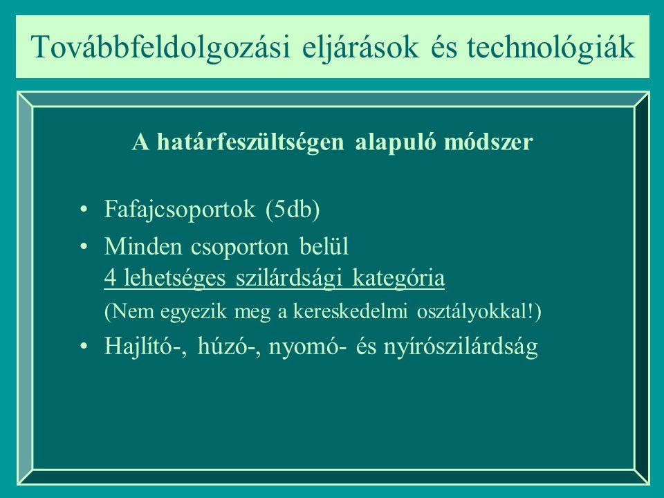 Továbbfeldolgozási eljárások és technológiák A határfeszültségen alapuló módszer Fafajcsoportok (5db) Minden csoporton belül 4 lehetséges szilárdsági