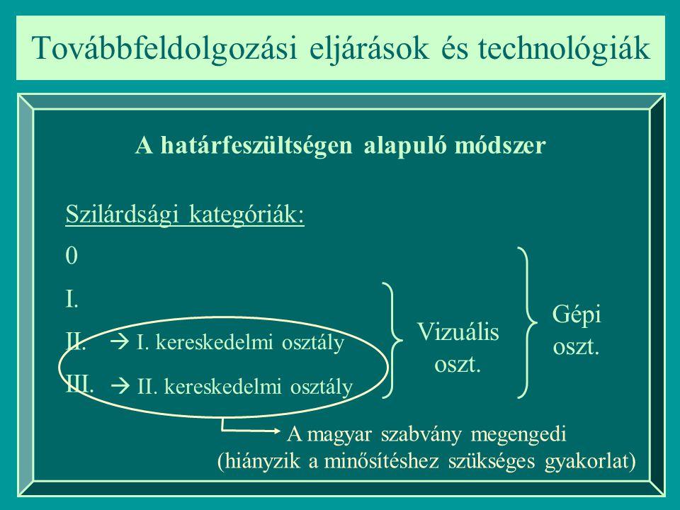 Továbbfeldolgozási eljárások és technológiák A határfeszültségen alapuló módszer Szilárdsági kategóriák: 0 I. II. III. Gépi oszt. Vizuális oszt.  I.