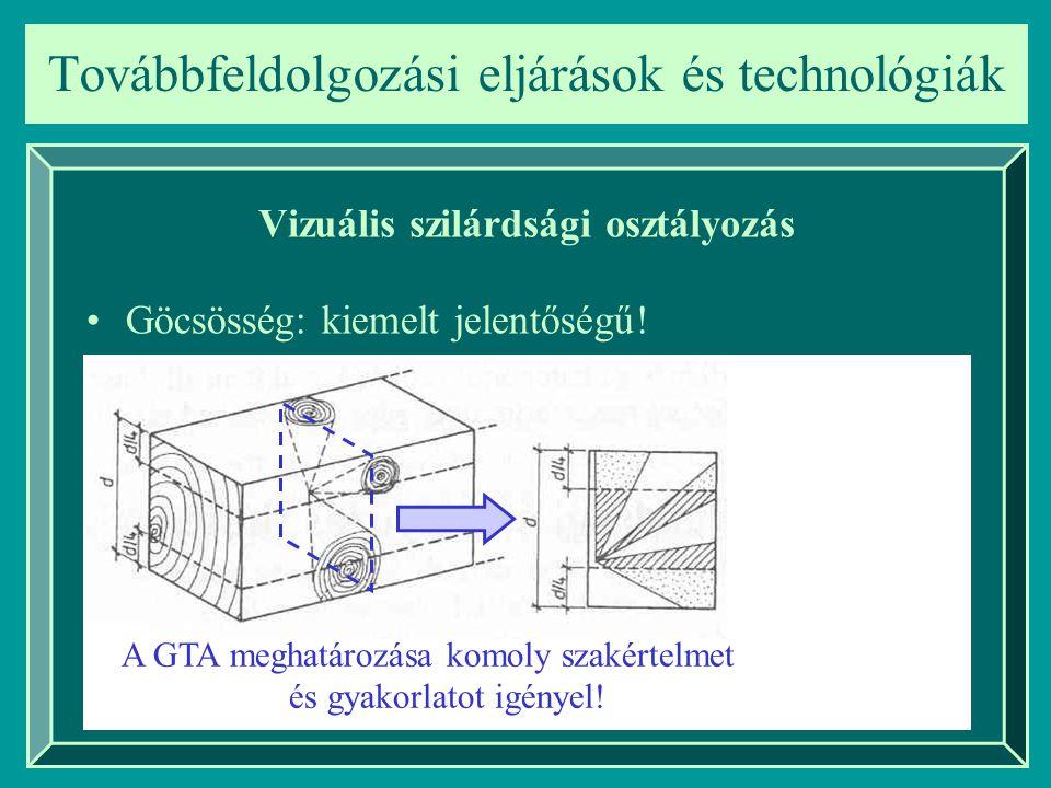 Továbbfeldolgozási eljárások és technológiák Vizuális szilárdsági osztályozás Göcsösség: kiemelt jelentőségű! A GTA meghatározása komoly szakértelmet