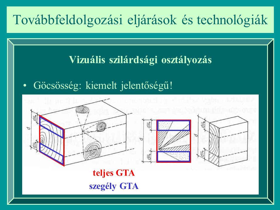 Továbbfeldolgozási eljárások és technológiák Vizuális szilárdsági osztályozás Göcsösség: kiemelt jelentőségű! teljes GTA szegély GTA