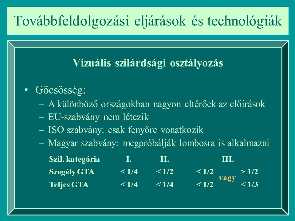 Továbbfeldolgozási eljárások és technológiák Vizuális szilárdsági osztályozás Göcsösség: –A különböző országokban nagyon eltérőek az előírások –EU-sza