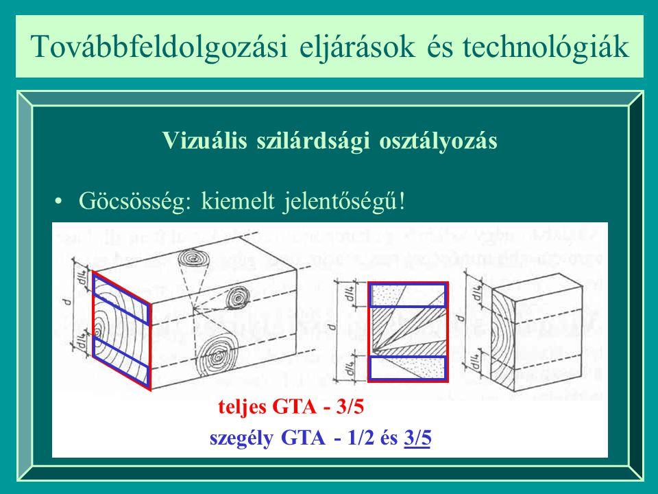 Továbbfeldolgozási eljárások és technológiák Vizuális szilárdsági osztályozás Göcsösség: kiemelt jelentőségű! teljes GTA szegély GTA - 3/5 - 1/2és 3/5
