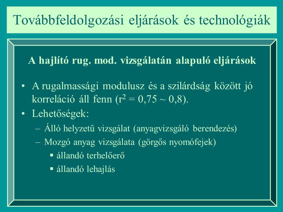 Továbbfeldolgozási eljárások és technológiák A hajlító rug. mod. vizsgálatán alapuló eljárások A rugalmassági modulusz és a szilárdság között jó korre