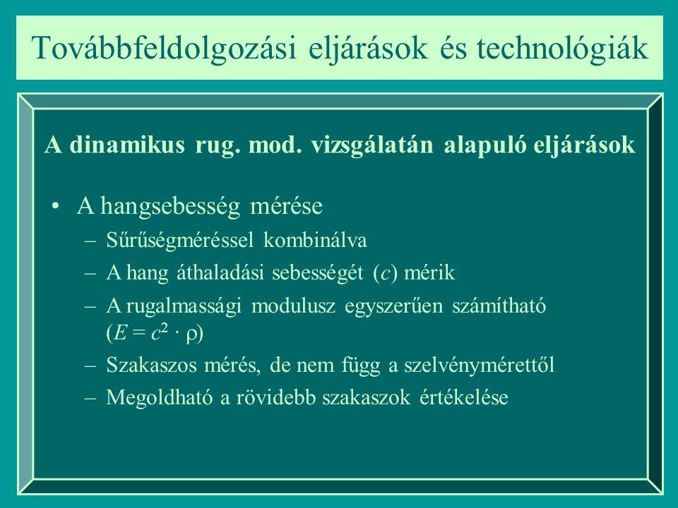 Továbbfeldolgozási eljárások és technológiák A dinamikus rug. mod. vizsgálatán alapuló eljárások A hangsebesség mérése –Sűrűségméréssel kombinálva –A