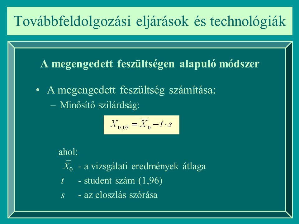 Továbbfeldolgozási eljárások és technológiák A határfeszültségen alapuló módszer Szilárdsági kategóriák: 0 I.
