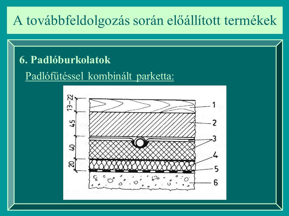 A továbbfeldolgozás során előállított termékek 6. Padlóburkolatok Padlófűtéssel kombinált parketta: