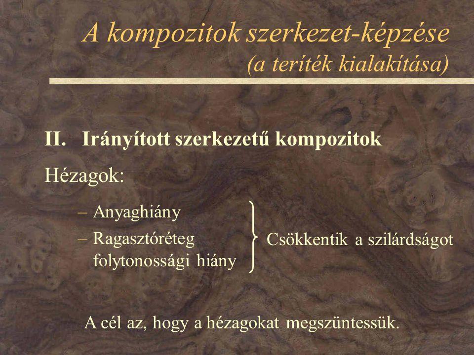 A kompozitok szerkezet-képzése (a teríték kialakítása) II. Irányított szerkezetű kompozitok Hézagok: –Anyaghiány –Ragasztóréteg folytonossági hiány Cs