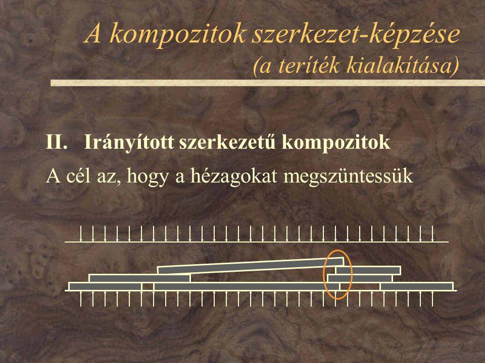 A kompozitok szerkezet-képzése (a teríték kialakítása) II. Irányított szerkezetű kompozitok A cél az, hogy a hézagokat megszüntessük