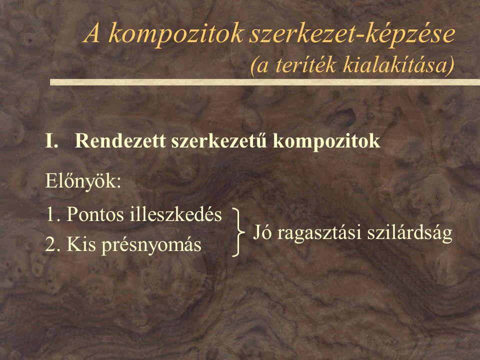 A kompozitok szerkezet-képzése (a teríték kialakítása) Előnyök: 1.