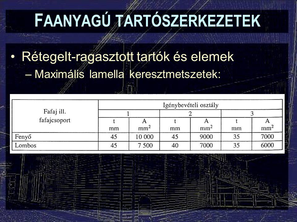 F AANYAGÚ TARTÓSZERKEZETEK Rétegelt-ragasztott tartók és elemek –A > 7500 mm2  feszültségmentesítő horony, vagy szélesítő toldás ajánlott!