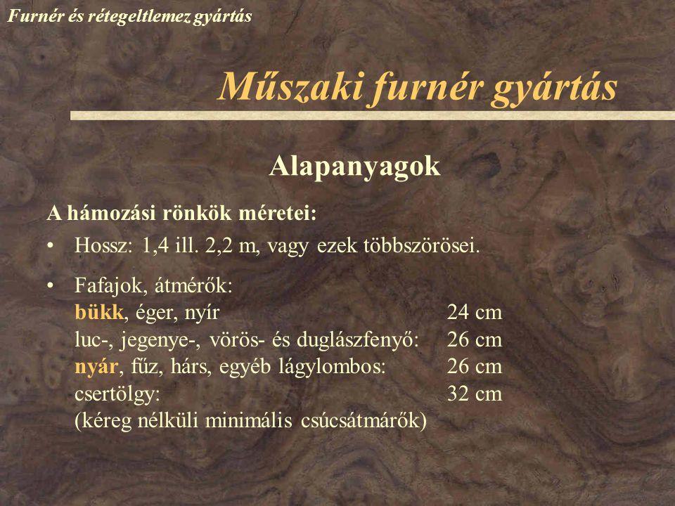 Furnér és rétegeltlemez gyártás A hámozási rönkök méretei: Hossz: 1,4 ill. 2,2 m, vagy ezek többszörösei. Fafajok, átmérők: bükk, éger, nyír24 cm luc-