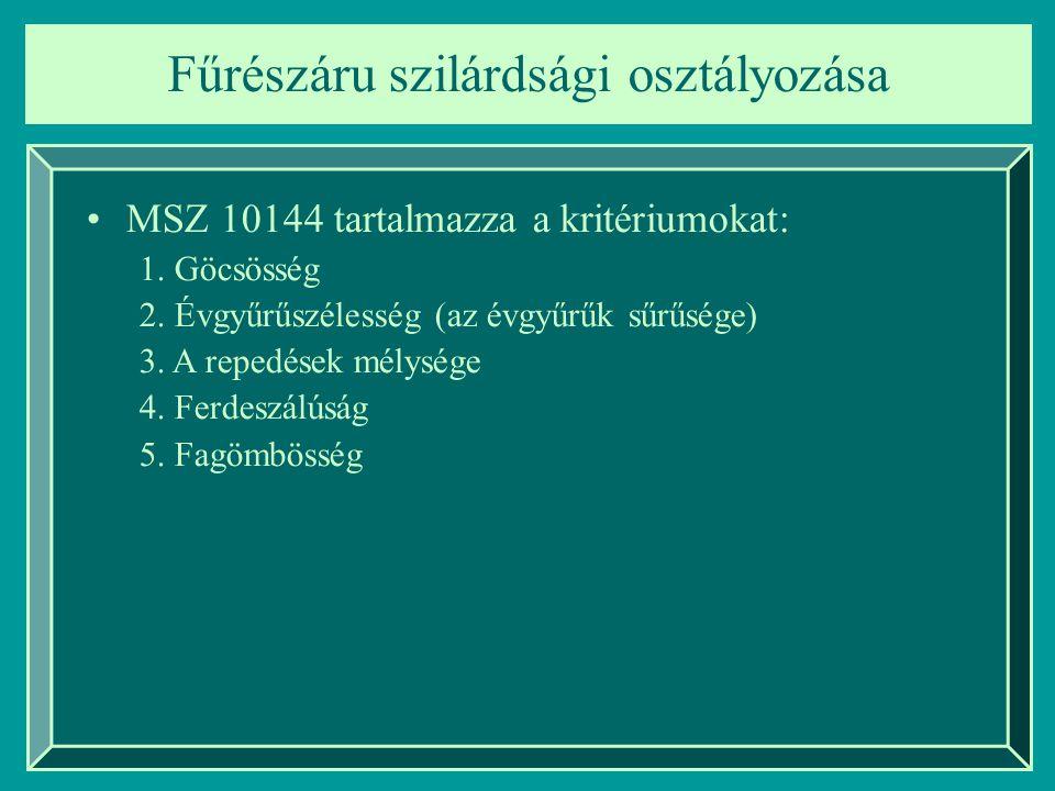 Fűrészáru szilárdsági osztályozása MSZ 10144 tartalmazza a kritériumokat: 1. Göcsösség 2. Évgyűrűszélesség (az évgyűrűk sűrűsége) 3. A repedések mélys