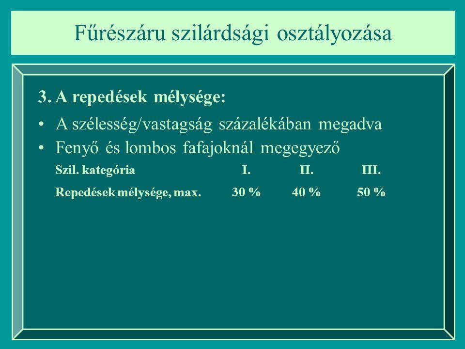 Fűrészáru szilárdsági osztályozása 3. A repedések mélysége: A szélesség/vastagság százalékában megadva Fenyő és lombos fafajoknál megegyező Szil. kate
