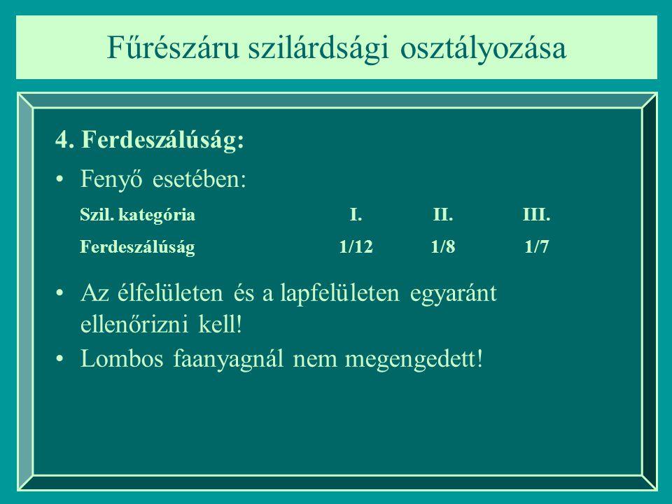 Fűrészáru szilárdsági osztályozása 4. Ferdeszálúság: Fenyő esetében: Szil. kategóriaI.II.III. Ferdeszálúság1/121/81/7 Az élfelületen és a lapfelületen
