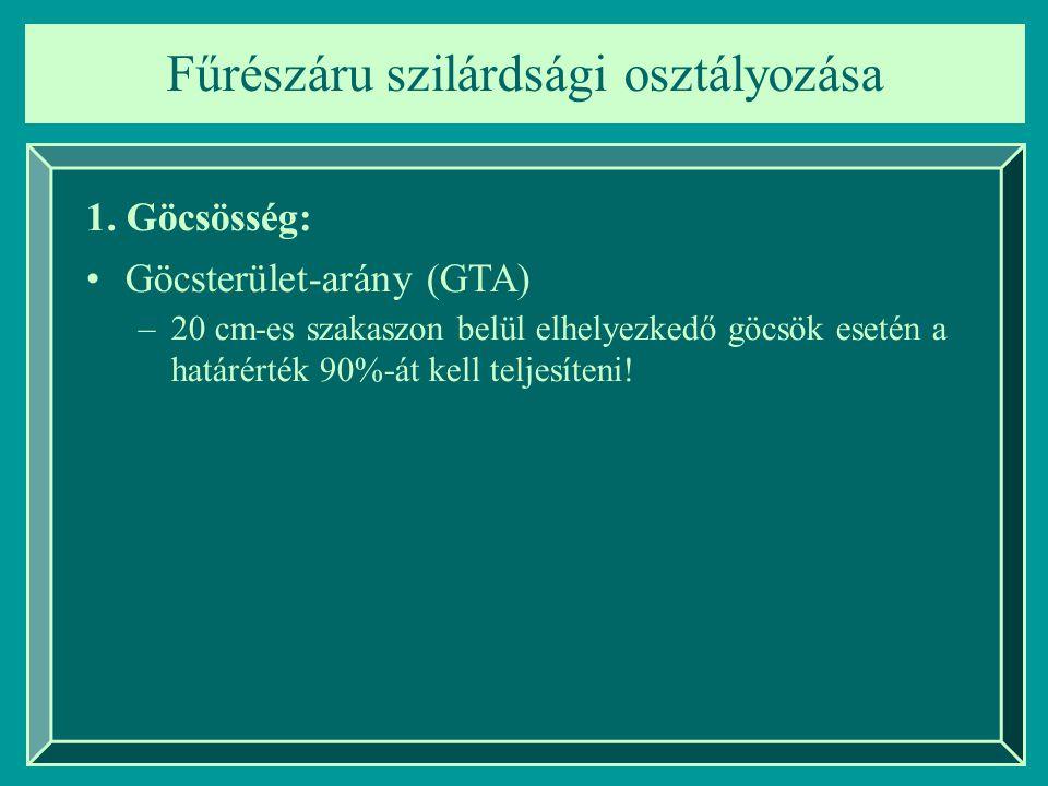 Fűrészáru szilárdsági osztályozása 1. Göcsösség: Göcsterület-arány (GTA) –20 cm-es szakaszon belül elhelyezkedő göcsök esetén a határérték 90%-át kell