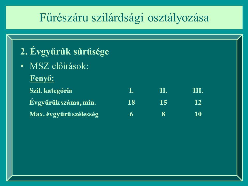 Fűrészáru szilárdsági osztályozása 2. Évgyűrűk sűrűsége MSZ előírások: Szil. kategóriaI.II.III. Évgyűrűk száma, min.181512 Max. évgyűrű szélesség6810