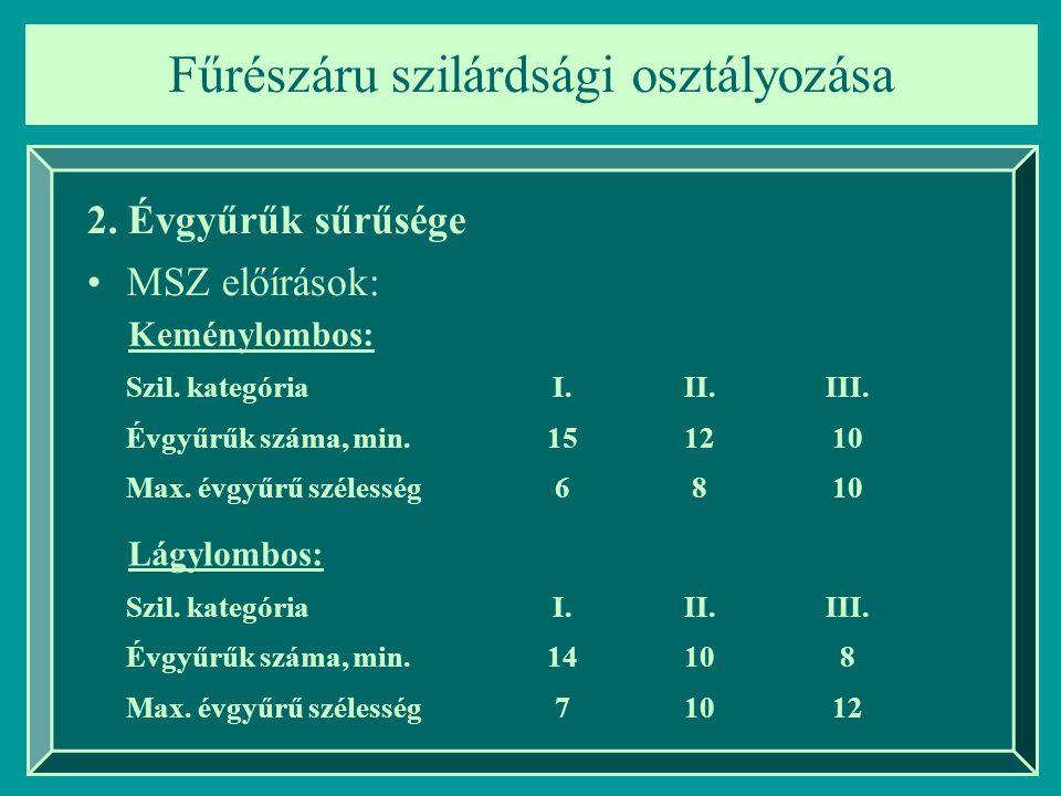Fűrészáru szilárdsági osztályozása 2. Évgyűrűk sűrűsége MSZ előírások: Szil. kategóriaI.II.III. Évgyűrűk száma, min.151210 Max. évgyűrű szélesség6810