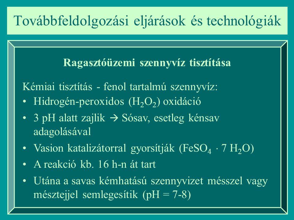 Továbbfeldolgozási eljárások és technológiák Ragasztóüzemi szennyvíz tisztítása Kémiai tisztítás - fenol tartalmú szennyvíz: Hidrogén-peroxidos (H 2 O