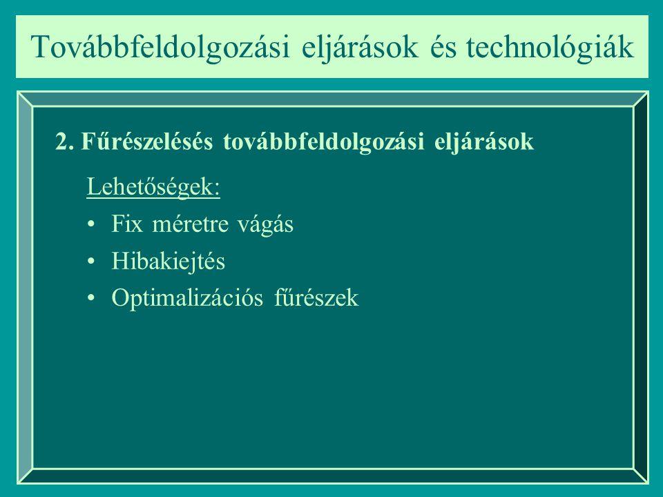 Lehetőségek: Fix méretre vágás Hibakiejtés Optimalizációs fűrészek Továbbfeldolgozási eljárások és technológiák 2.