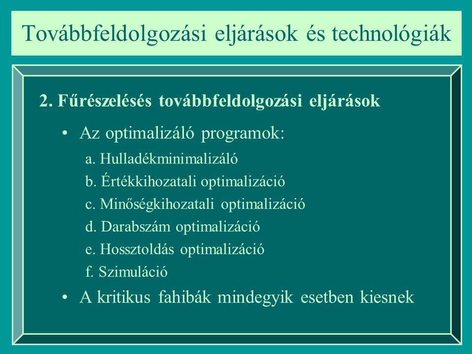 a. Hulladékminimalizáló b. Értékkihozatali optimalizáció c.