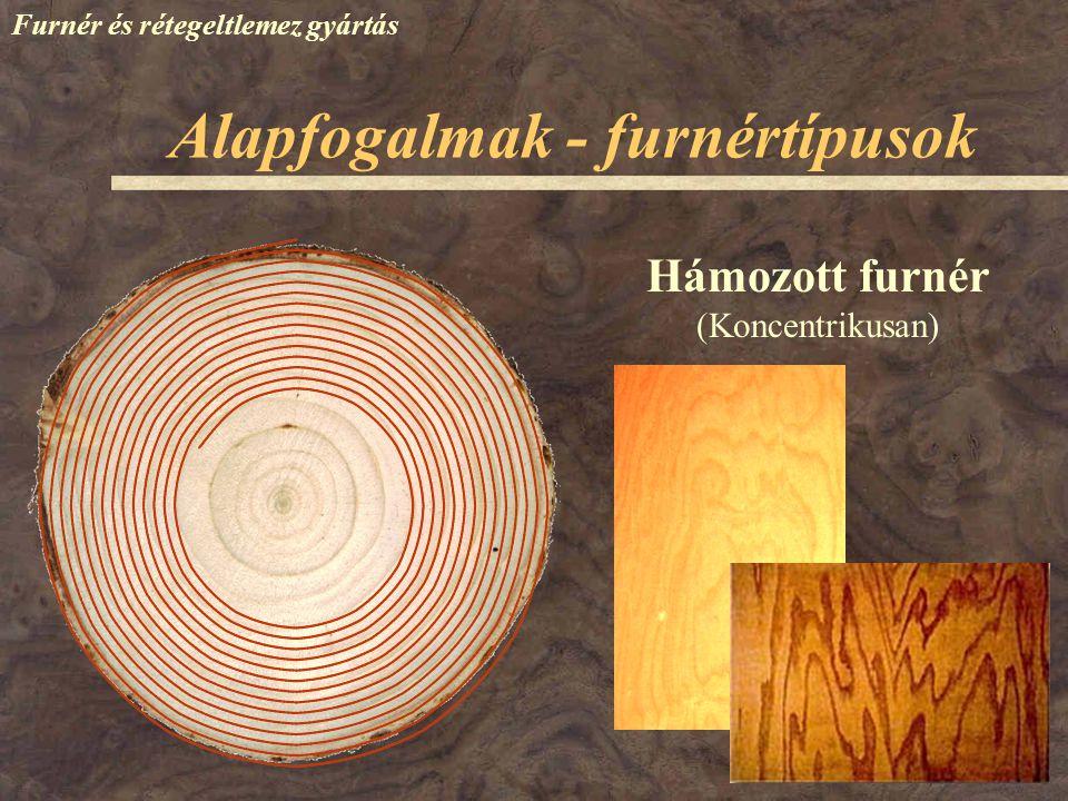 Alapfogalmak - furnértípusok Furnér és rétegeltlemez gyártás Hámozott furnér (Excentrikusan)