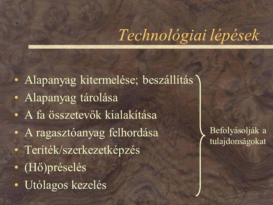 Technológiai lépések Alapanyag kitermelése; beszállítás Alapanyag tárolása A fa összetevők kialakítása A ragasztóanyag felhordása Teríték/szerkezetképzés (Hő)préselés Utólagos kezelés Befolyásolják a tulajdonságokat