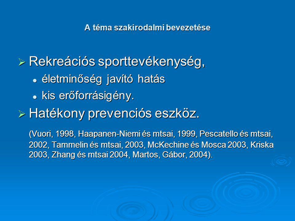 A téma szakirodalmi bevezetése  Fontos a pszichoszociális tényezők vizsgálata, befolyásoló hatása a sporttolás elkezdésére és fenntartására, befolyásoló hatása a sporttolás elkezdésére és fenntartására, az egészséges és a diszfunkcióval küzdők körében.