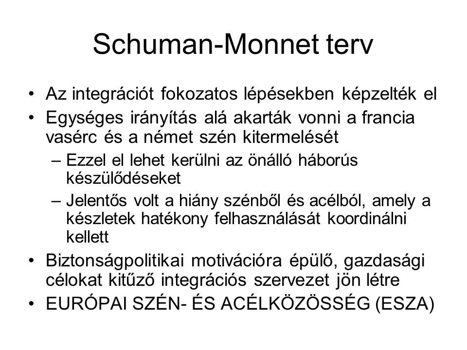 Schuman-Monnet terv Az integrációt fokozatos lépésekben képzelték el Egységes irányítás alá akarták vonni a francia vasérc és a német szén kitermelését –Ezzel el lehet kerülni az önálló háborús készülődéseket –Jelentős volt a hiány szénből és acélból, amely a készletek hatékony felhasználását koordinálni kellett Biztonságpolitikai motivációra épülő, gazdasági célokat kitűző integrációs szervezet jön létre EURÓPAI SZÉN- ÉS ACÉLKÖZÖSSÉG (ESZA)