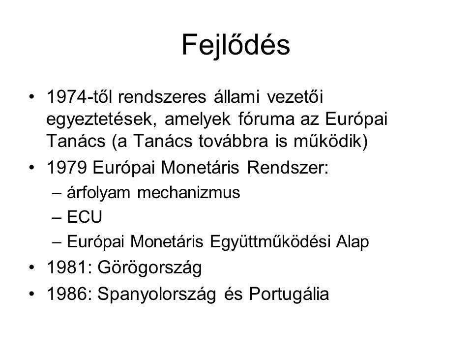 Fejlődés 1974-től rendszeres állami vezetői egyeztetések, amelyek fóruma az Európai Tanács (a Tanács továbbra is működik) 1979 Európai Monetáris Rendszer: –árfolyam mechanizmus –ECU –Európai Monetáris Együttműködési Alap 1981: Görögország 1986: Spanyolország és Portugália