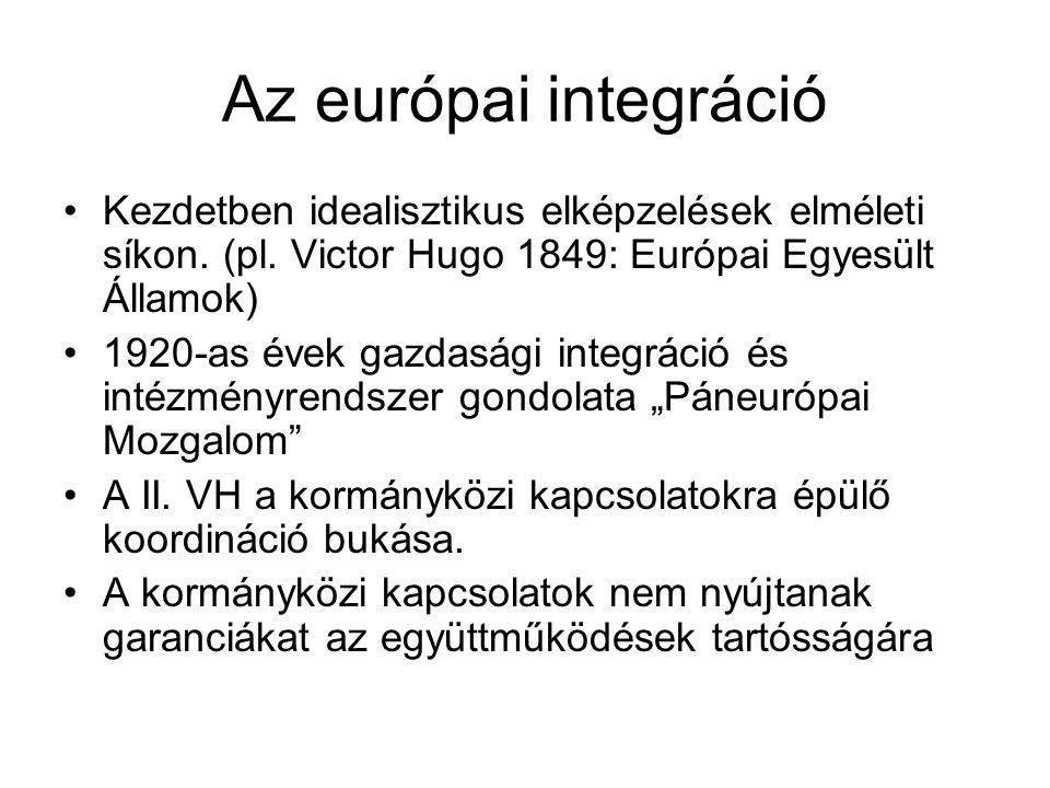 Az európai integráció Kezdetben idealisztikus elképzelések elméleti síkon.