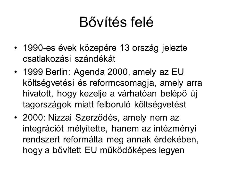 Bővítés felé 1990-es évek közepére 13 ország jelezte csatlakozási szándékát 1999 Berlin: Agenda 2000, amely az EU költségvetési és reformcsomagja, amely arra hivatott, hogy kezelje a várhatóan belépő új tagországok miatt felboruló költségvetést 2000: Nizzai Szerződés, amely nem az integrációt mélyítette, hanem az intézményi rendszert reformálta meg annak érdekében, hogy a bővített EU működőképes legyen