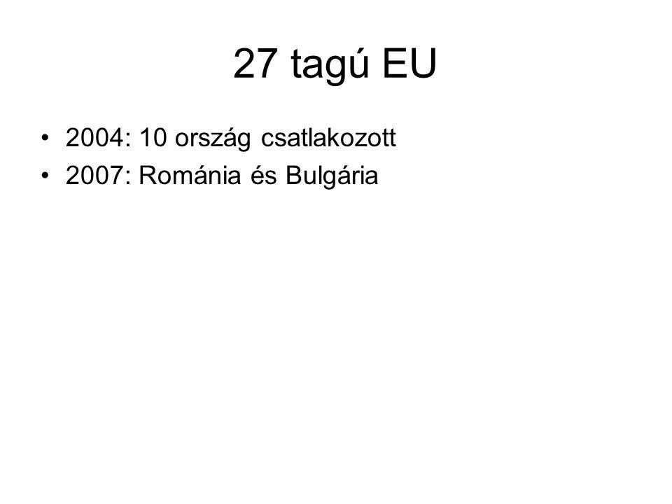 27 tagú EU 2004: 10 ország csatlakozott 2007: Románia és Bulgária