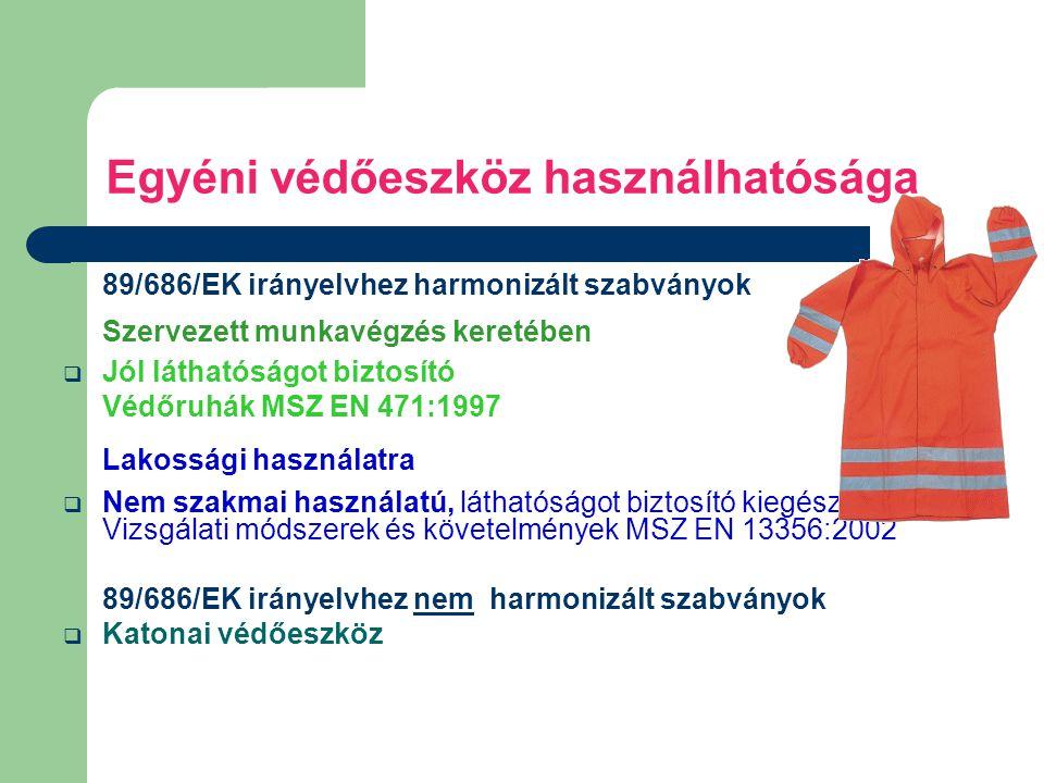 Egyéni védőeszköz használhatósága 89/686/EK irányelvhez harmonizált szabványok Szervezett munkavégzés keretében  Jól láthatóságot biztosító Védőruhák MSZ EN 471:1997 Lakossági használatra  Nem szakmai használatú, láthatóságot biztosító kiegészítők.