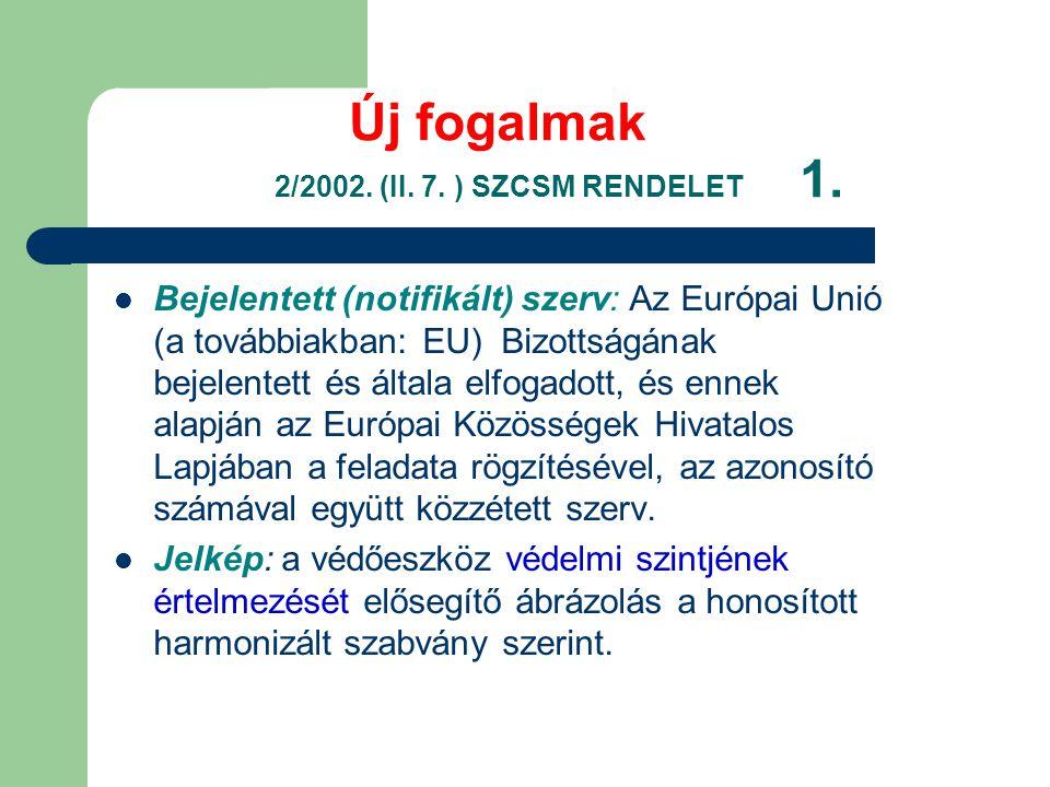 Új fogalmak 2/2002.(II. 7. ) SZCSM RENDELET 1.
