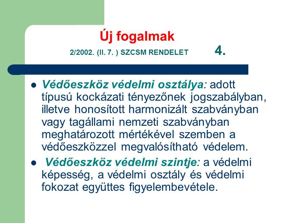 Új fogalmak 2/2002.(II. 7. ) SZCSM RENDELET 4.