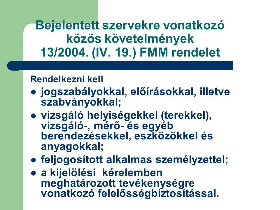 Bejelentett szervekre vonatkozó közös követelmények 13/2004.
