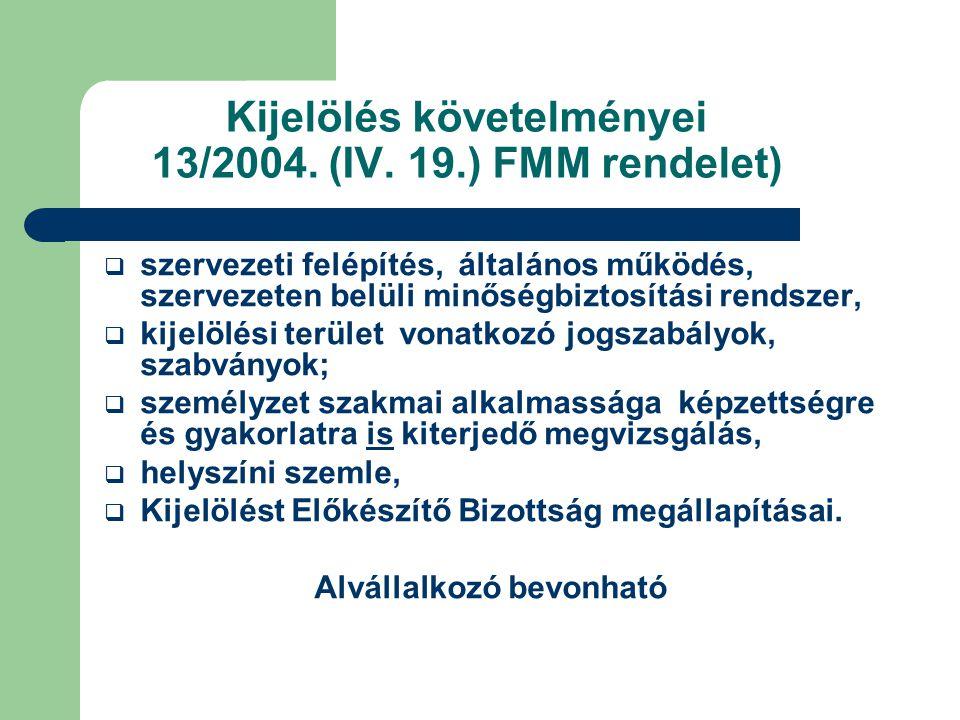 Kijelölés követelményei 13/2004.(IV.
