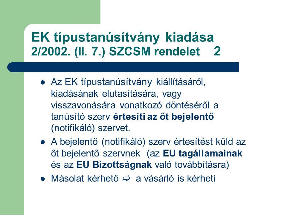 EK típustanúsítvány kiadása 2/2002.(II.