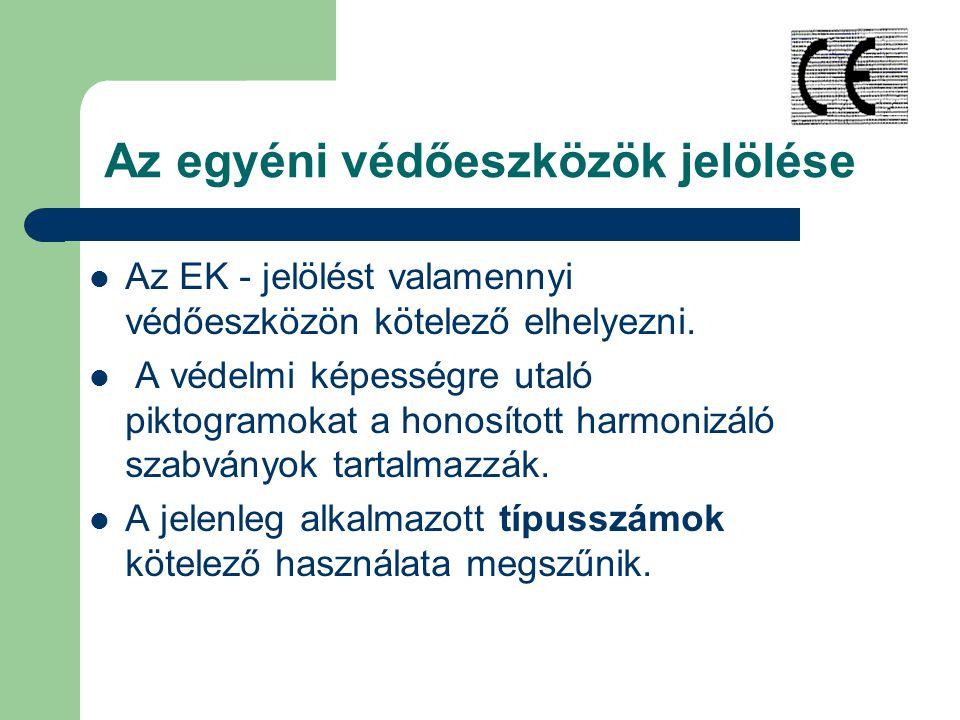 Az egyéni védőeszközök jelölése Az EK - jelölést valamennyi védőeszközön kötelező elhelyezni.