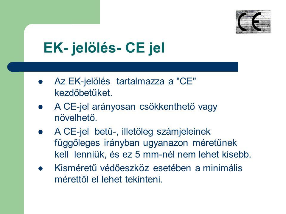 EK- jelölés- CE jel Az EK-jelölés tartalmazza a CE kezdőbetűket.