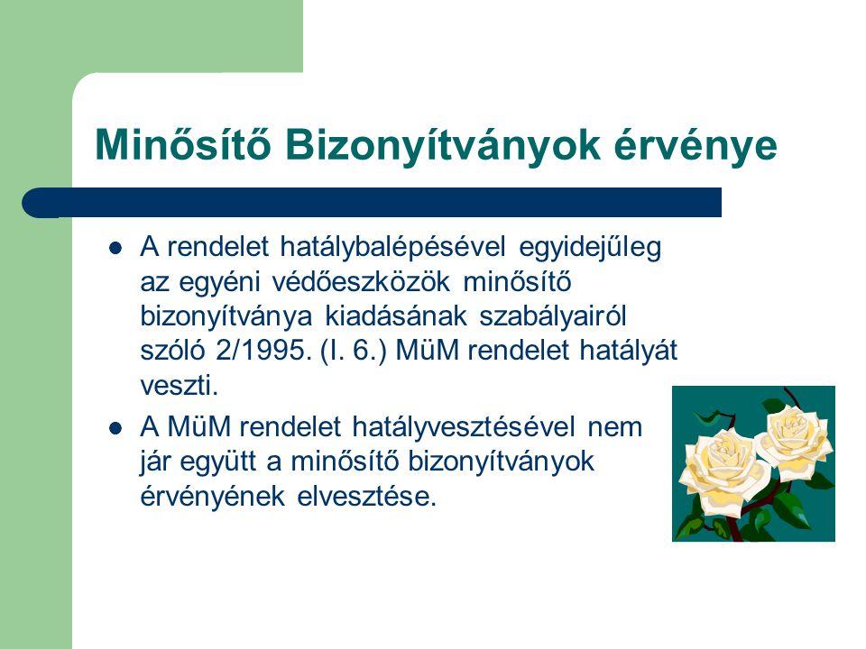 Minősítő Bizonyítványok érvénye A rendelet hatálybalépésével egyidejűleg az egyéni védőeszközök minősítő bizonyítványa kiadásának szabályairól szóló 2/1995.