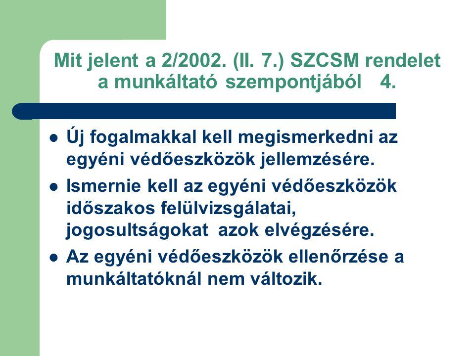 Mit jelent a 2/2002.(II. 7.) SZCSM rendelet a munkáltató szempontjából 4.