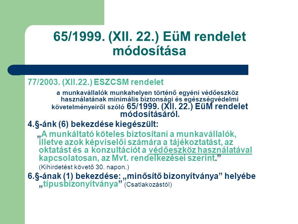 65/1999.(XII. 22.) EüM rendelet módosítása 77/2003.