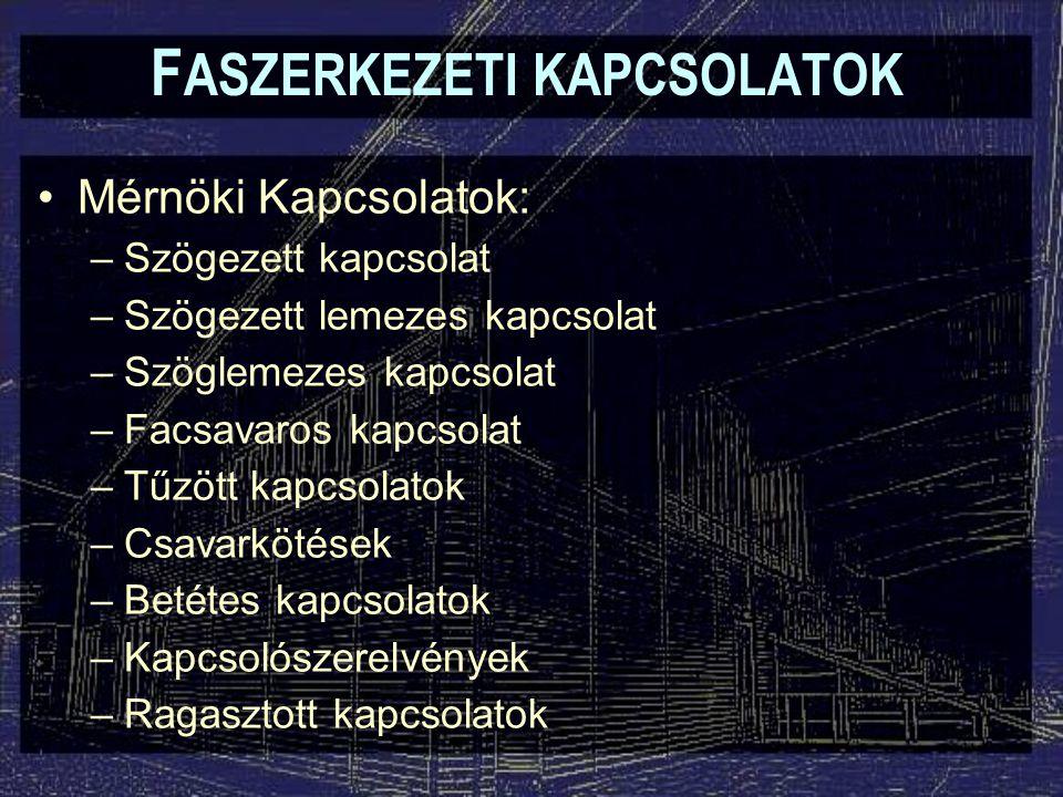 Kapcsolószerelvények F ASZERKEZETI KAPCSOLATOK Olyan szerkezeti elemek, melyeket két (vagy több) egymáshoz kapcsolódó faszerkezeti elem közé iktatnak be.